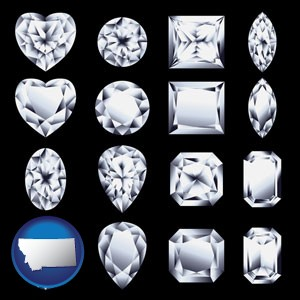 sixteen diamonds, showing various diamond cuts - with Montana icon