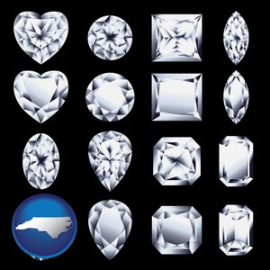sixteen diamonds, showing various diamond cuts - with North Carolina icon