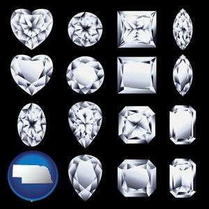 sixteen diamonds, showing various diamond cuts - with Nebraska icon