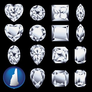 sixteen diamonds, showing various diamond cuts - with New Hampshire icon