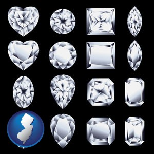 sixteen diamonds, showing various diamond cuts - with New Jersey icon