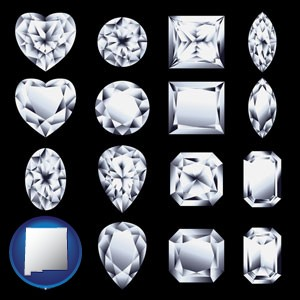 sixteen diamonds, showing various diamond cuts - with New Mexico icon