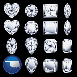 sixteen diamonds, showing various diamond cuts - with Oklahoma icon