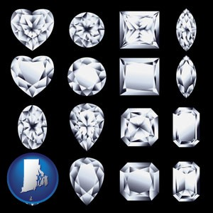 sixteen diamonds, showing various diamond cuts - with Rhode Island icon
