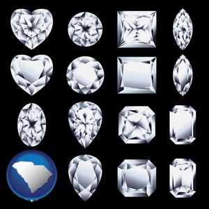 sixteen diamonds, showing various diamond cuts - with South Carolina icon