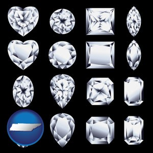 sixteen diamonds, showing various diamond cuts - with Tennessee icon