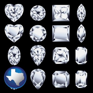 sixteen diamonds, showing various diamond cuts - with Texas icon