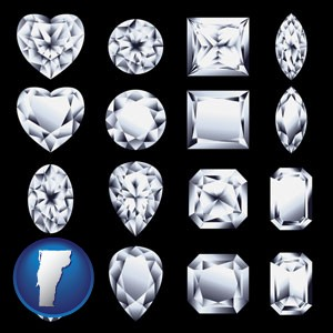 sixteen diamonds, showing various diamond cuts - with Vermont icon