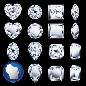 sixteen diamonds, showing various diamond cuts - with Wisconsin icon