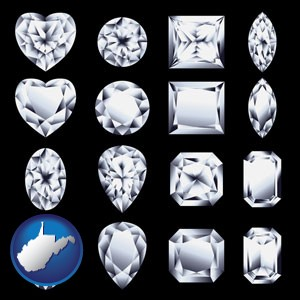sixteen diamonds, showing various diamond cuts - with West Virginia icon