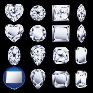 sixteen diamonds, showing various diamond cuts - with Wyoming icon