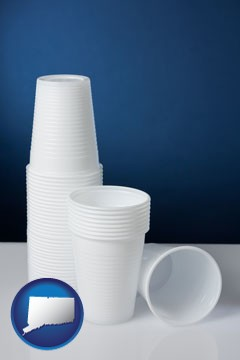 disposable cups - with Connecticut icon