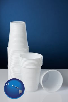 disposable cups - with Hawaii icon