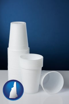 disposable cups - with New Hampshire icon