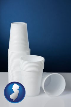 disposable cups - with New Jersey icon