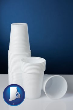 disposable cups - with Rhode Island icon