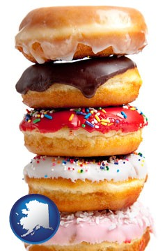 assorted donuts - with Alaska icon