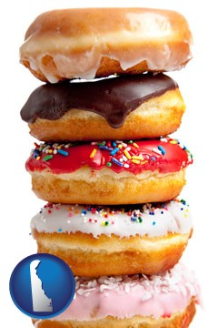 assorted donuts - with Delaware icon