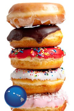assorted donuts - with Hawaii icon
