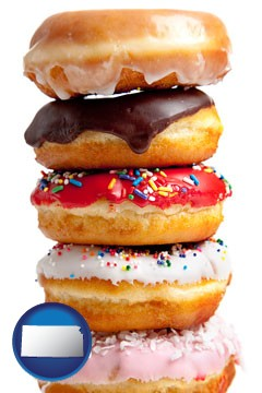 assorted donuts - with Kansas icon