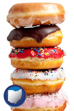 assorted donuts - with Ohio icon