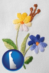 delaware map icon and hand-embroidered needlework