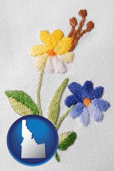 idaho map icon and hand-embroidered needlework