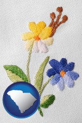 south-carolina hand-embroidered needlework