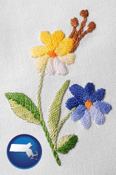 hand-embroidered needlework - with Massachusetts icon