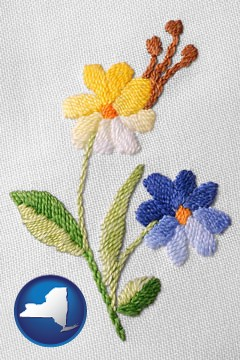 hand-embroidered needlework - with New York icon