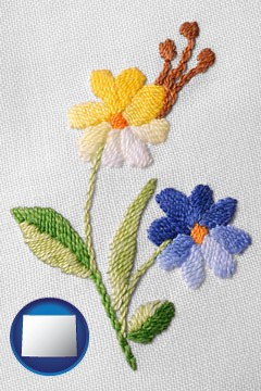 hand-embroidered needlework - with Wyoming icon