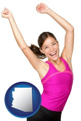 arizona a happy young woman wearing fitness clothing
