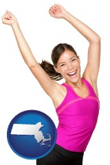 massachusetts a happy young woman wearing fitness clothing