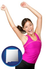 new-mexico a happy young woman wearing fitness clothing