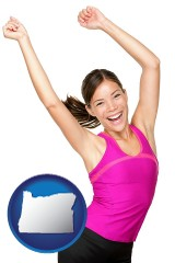 oregon a happy young woman wearing fitness clothing