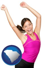 south-carolina a happy young woman wearing fitness clothing