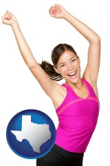 texas a happy young woman wearing fitness clothing