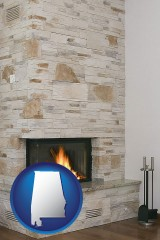 alabama a limestone fireplace