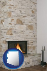 arizona map icon and a limestone fireplace