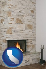 california map icon and a limestone fireplace