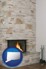 connecticut map icon and a limestone fireplace
