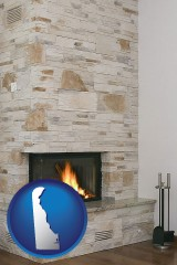 delaware map icon and a limestone fireplace