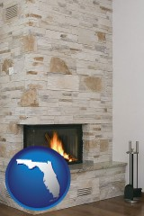 florida a limestone fireplace
