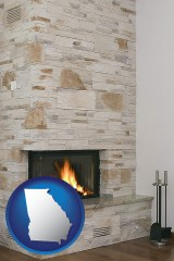 georgia a limestone fireplace