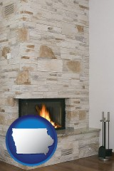 iowa a limestone fireplace