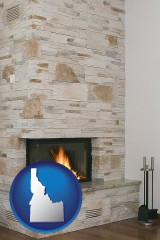 idaho a limestone fireplace