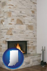 indiana map icon and a limestone fireplace
