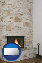 kansas a limestone fireplace
