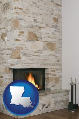 louisiana a limestone fireplace