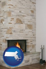 massachusetts map icon and a limestone fireplace